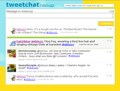 Screenshot of #sbbuzz chat on TweetChat.com